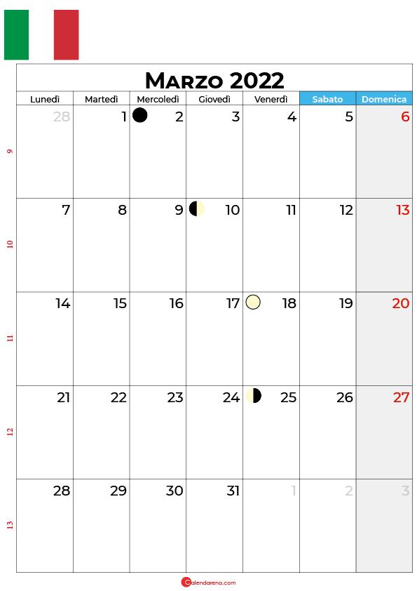 Calendario 2022 marzo