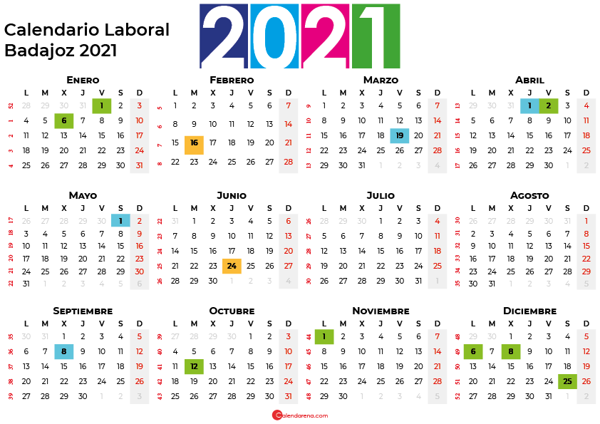 Calendario Laboral Badajoz 2021