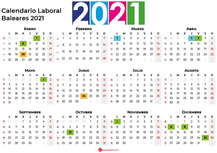 Calendario Laboral Baleares 2021