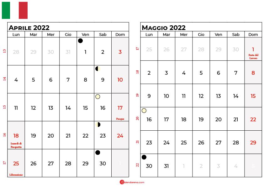 Calendario aprile maggio 2022