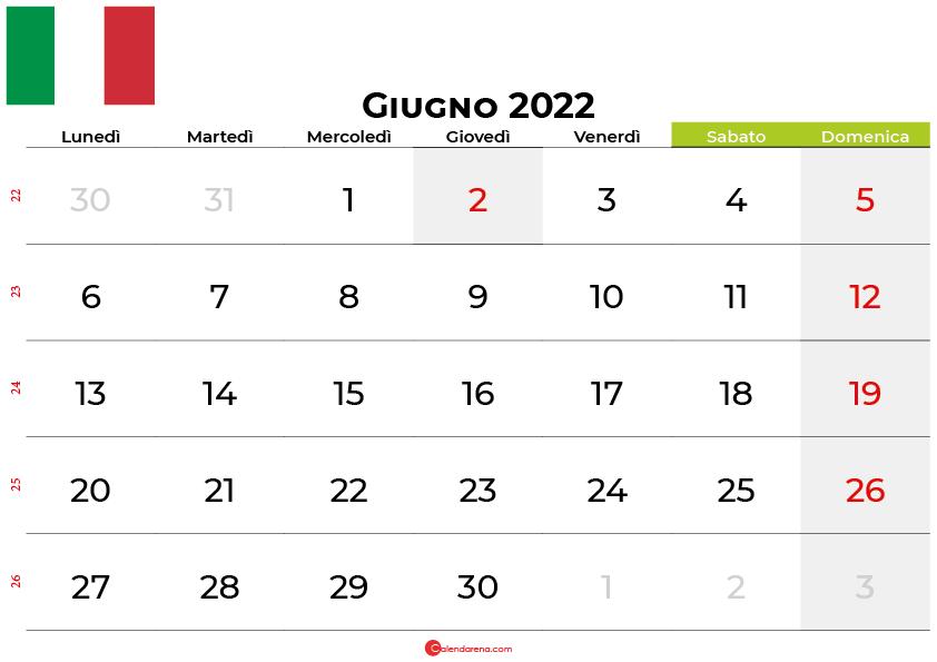Calendario giugno 2022