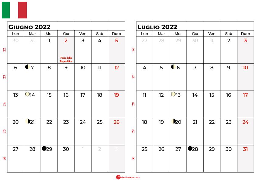 Calendario giugno luglio 2022