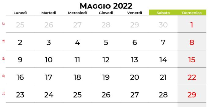 Calendario maggio 2022