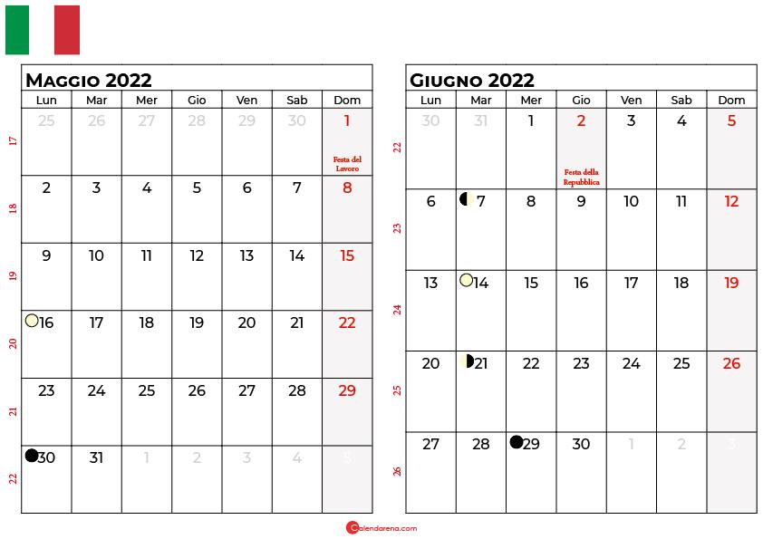 Calendario maggio giugno 2022