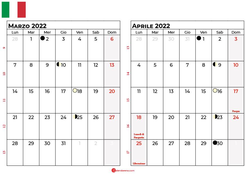 Calendario marzo aprile 2022