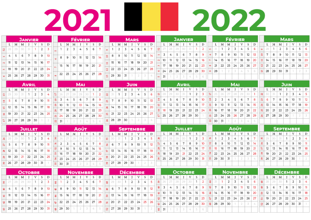 Calendrier 2021-2022 belgique