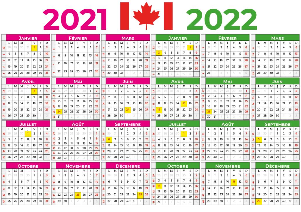 Calendrier 2021-2022 canada