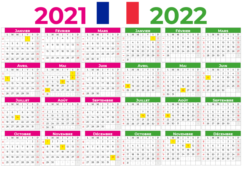 Calendrier 2021-2022 france