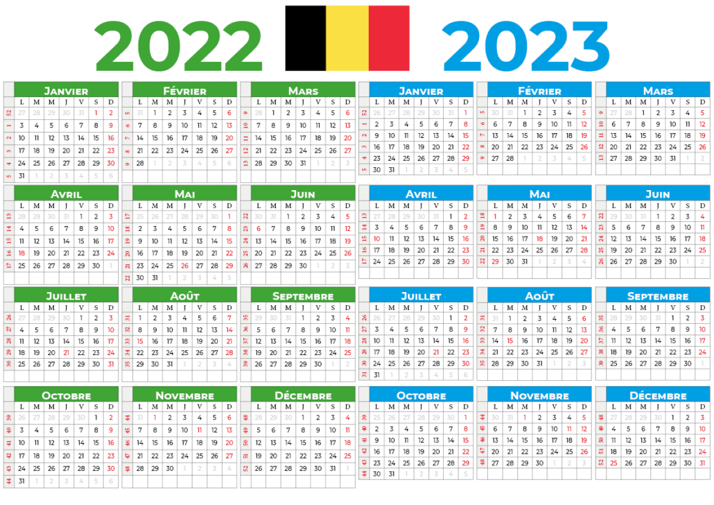 Calendrier 2022-2023 belgique