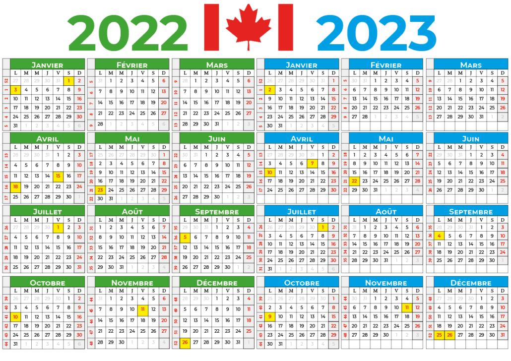 Calendrier 2022-2023 canada