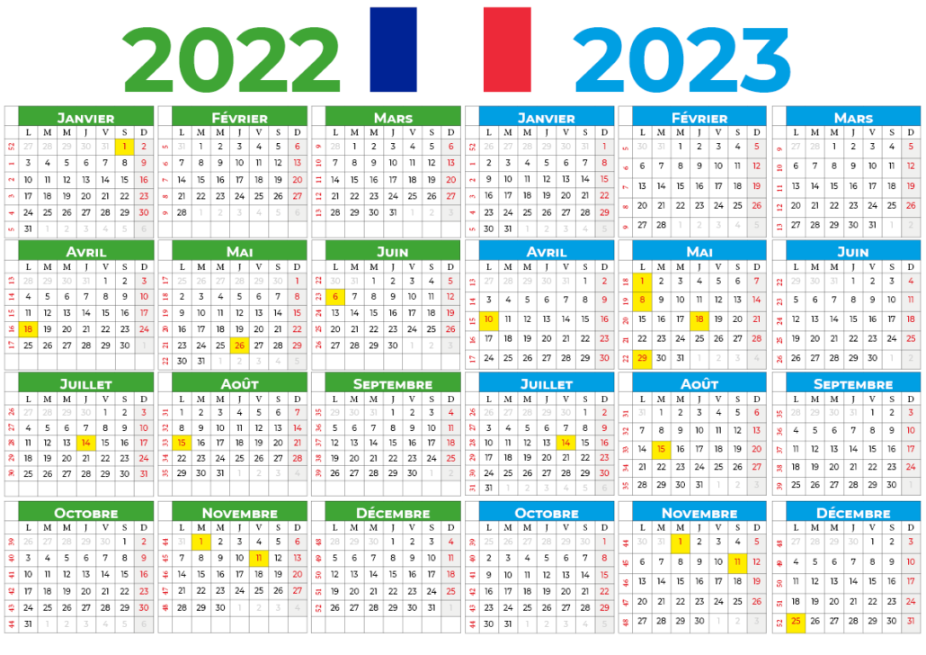 Calendrier 2022-2023 france