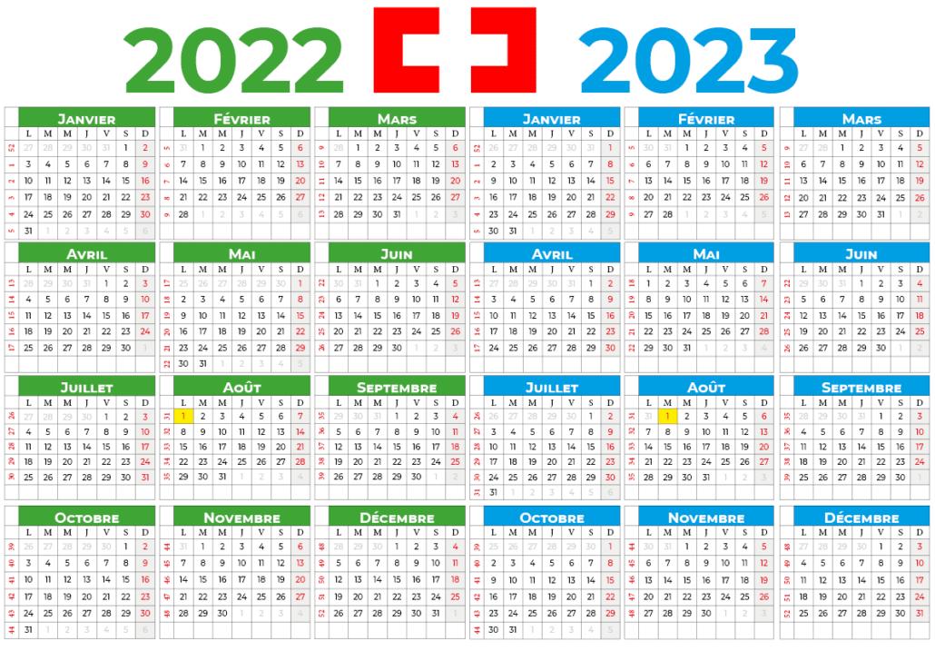 Calendrier 2022-2023 suisse
