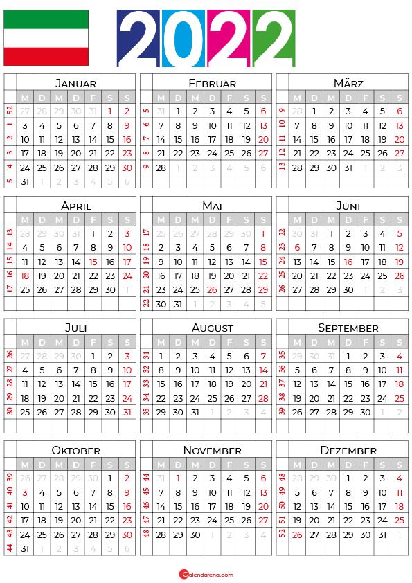 Kalender 2022 Nordrhein-Westfalen