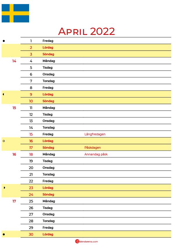 Kalender 2022 april Sverige