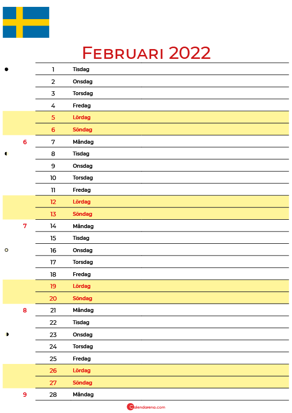 Kalender 2022 februari Sverige