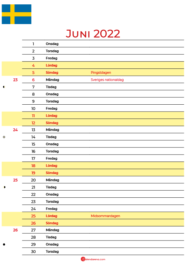 Kalender 2022 juni Sverige