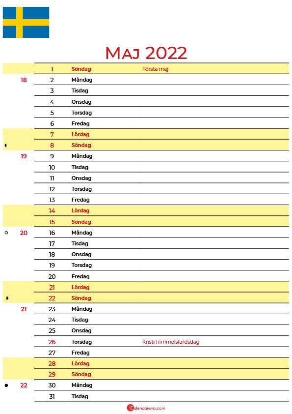 Kalender 2022 maj Sverige
