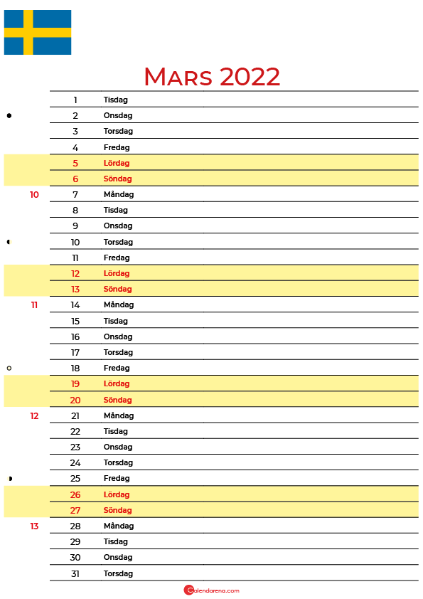 Kalender 2022 mars Sverige