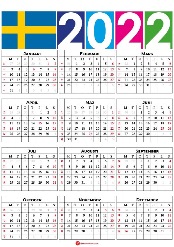 Kalender 2022 mit veckonummer 2022 Sverige