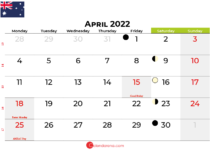 april 2022 calendar australia