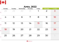 april 2022 calendar canada