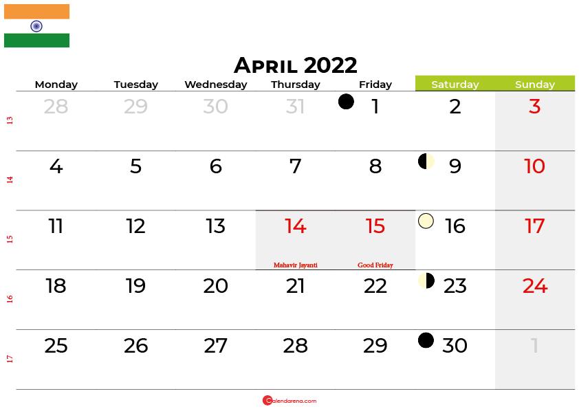 april 2022 calendar india