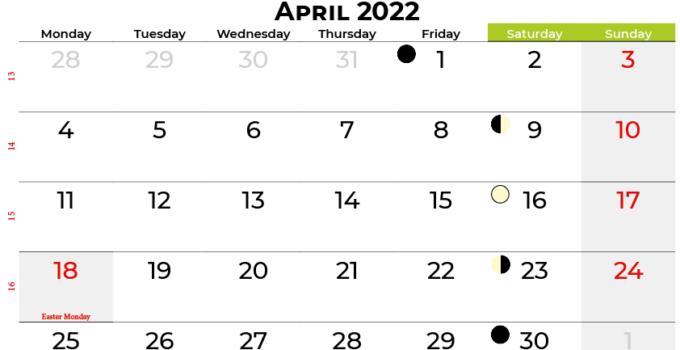 april 2022 calendar ireland