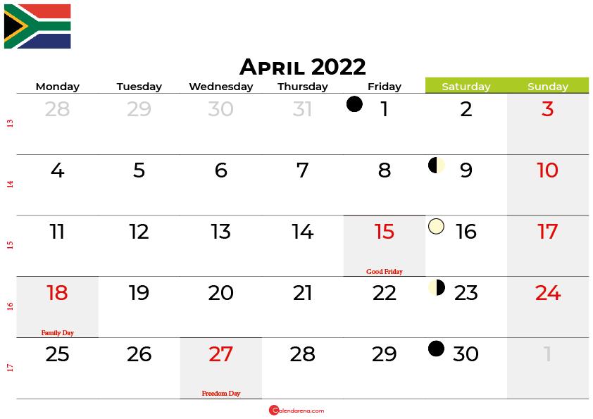 april 2022 calendar south africa