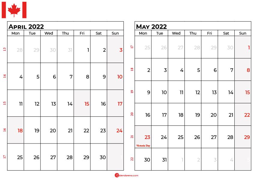 april and may 2022 calendar canada