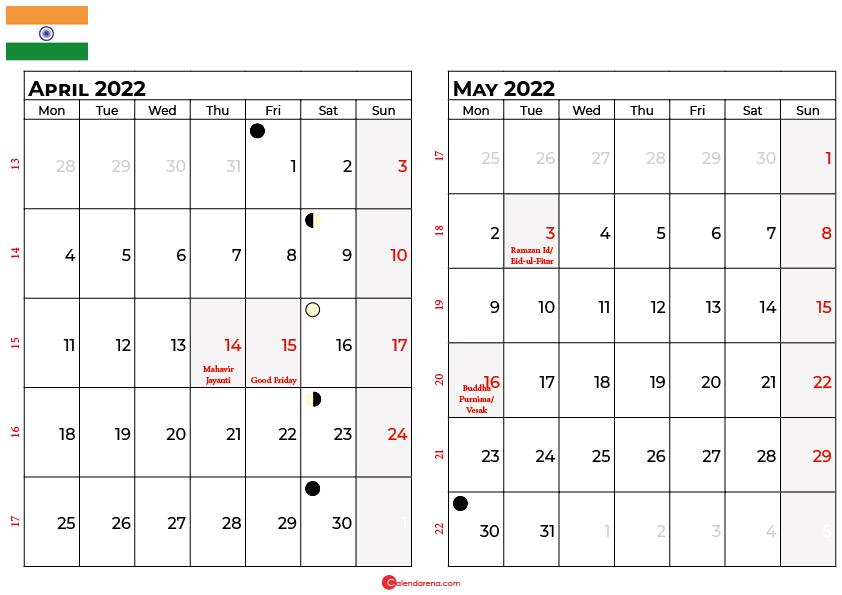 april and may 2022 calendar india