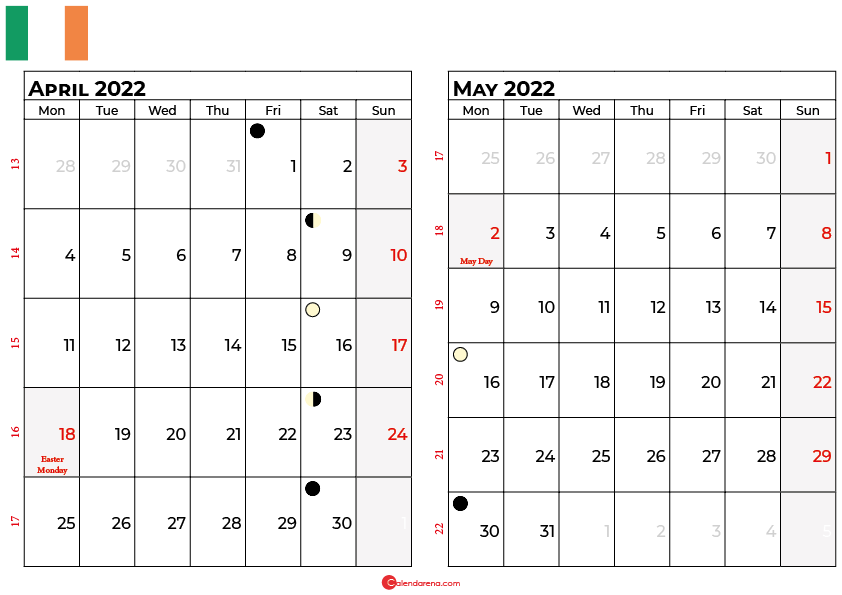 april and may 2022 calendar ireland
