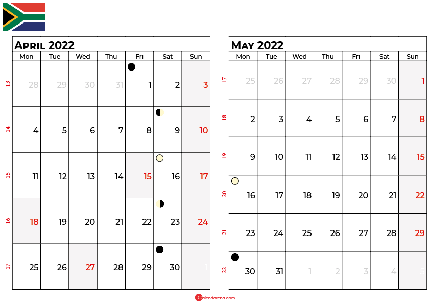april and may 2022 calendar south africa
