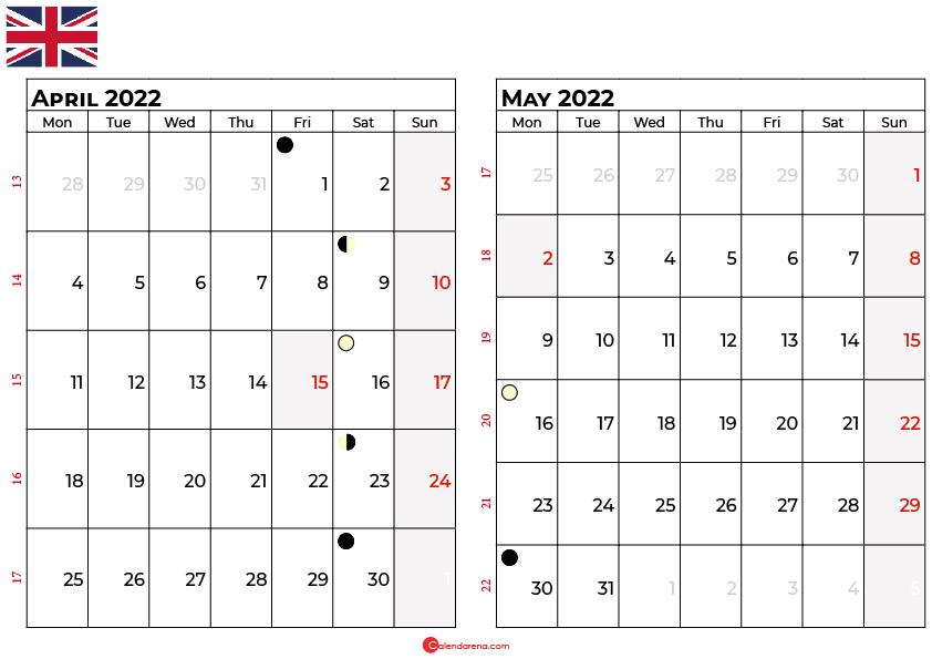 april and may 2022 calendar uk
