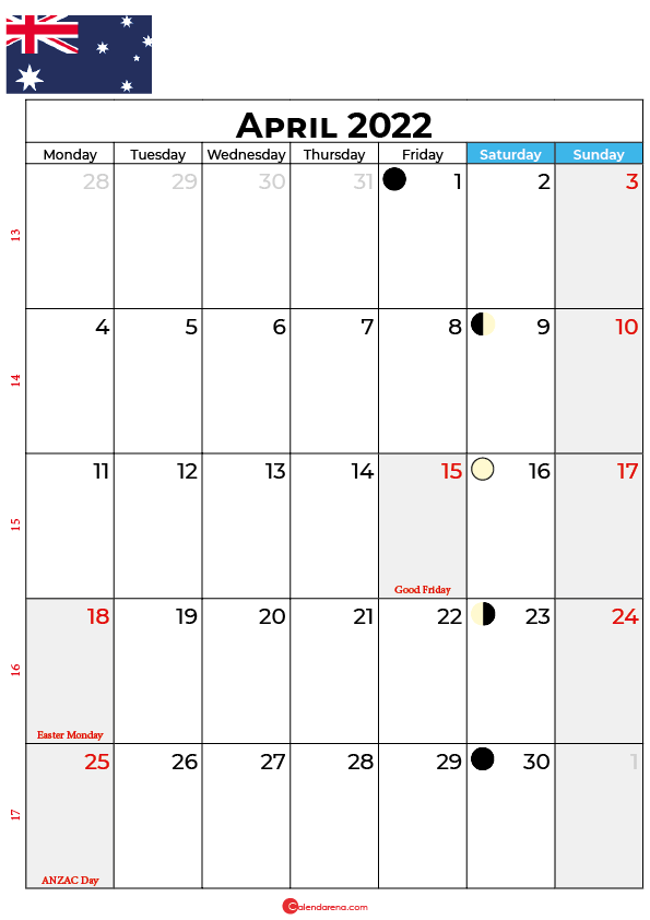 april calendar 2022 australia