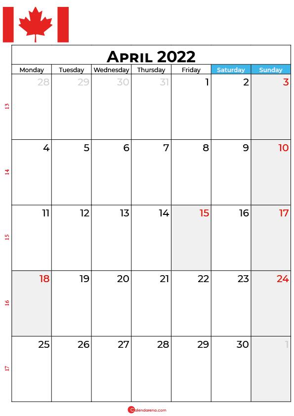 april calendar 2022 canada