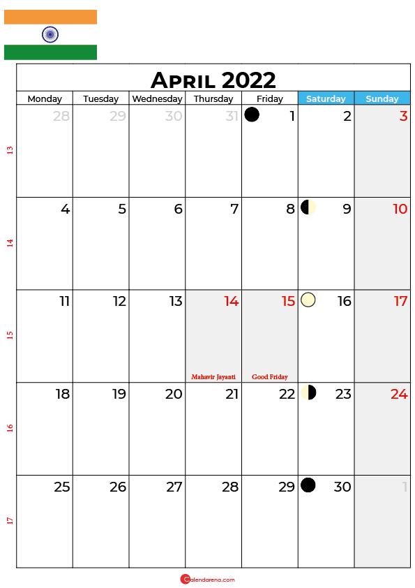 april calendar 2022 india