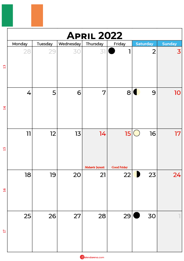 april calendar 2022 ireland
