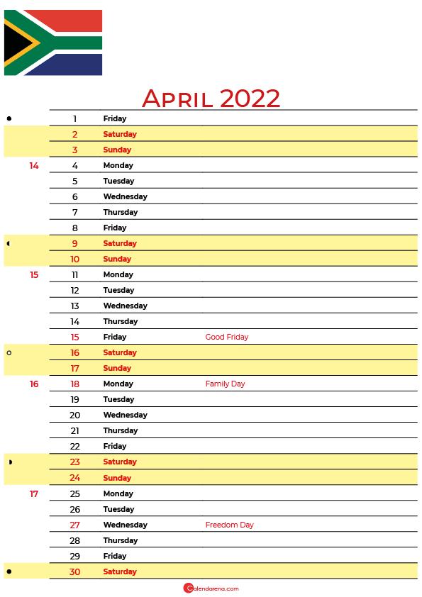 april calendar 2022 south africa