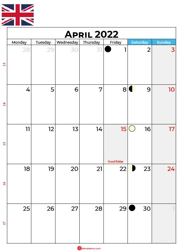 april calendar 2022 united kingdom