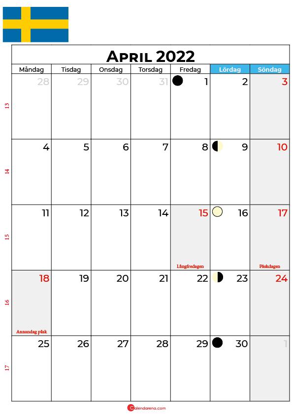 april kalender 2022 Sverige