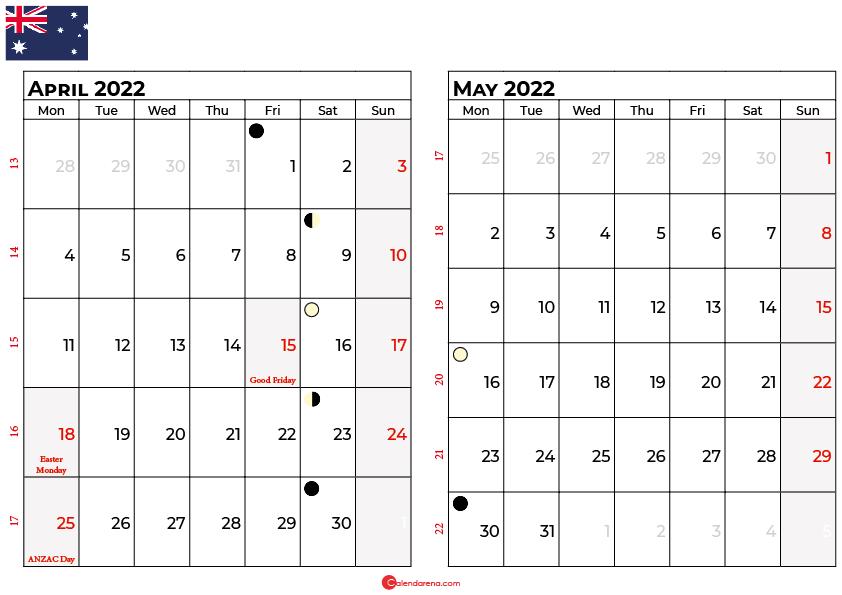 april may calendar 2022