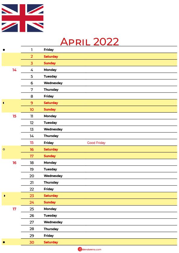 calendar april 2022 UK