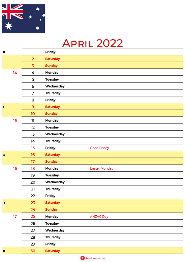 calendar april 2022 australia