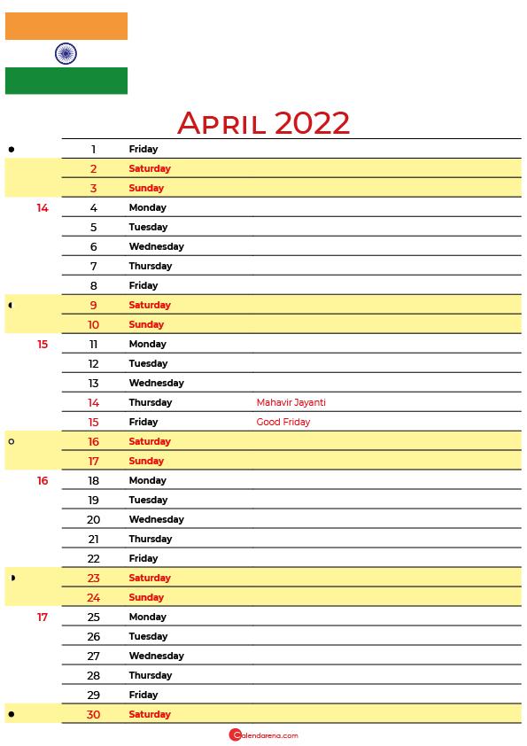 calendar april 2022 india