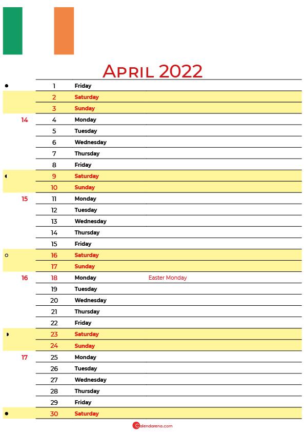 calendar april 2022 ireland