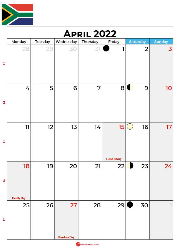calendar april 2022 south africa