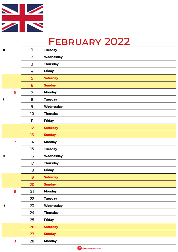 calendar february 2022 UK