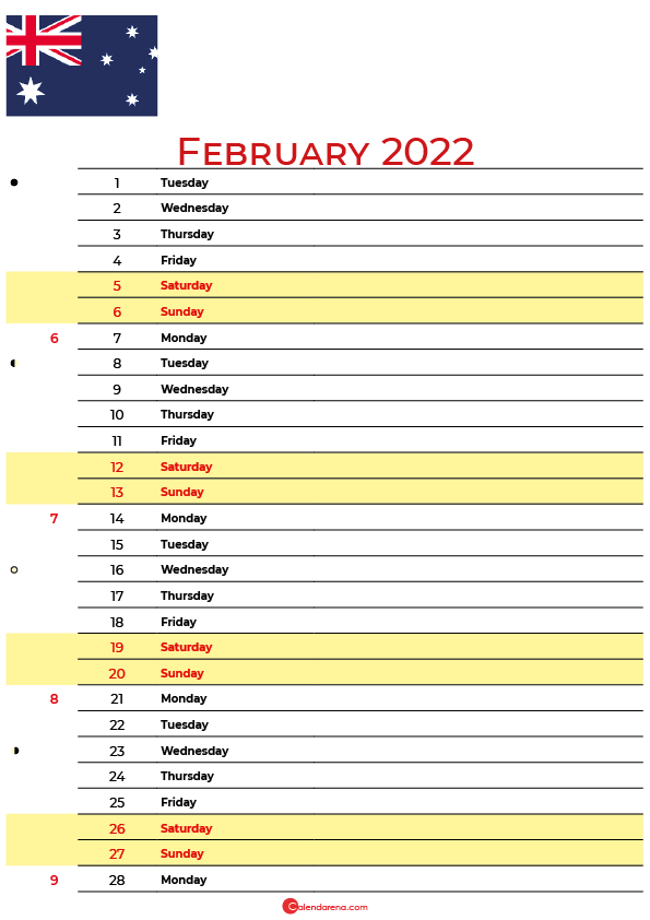 calendar february 2022 australia