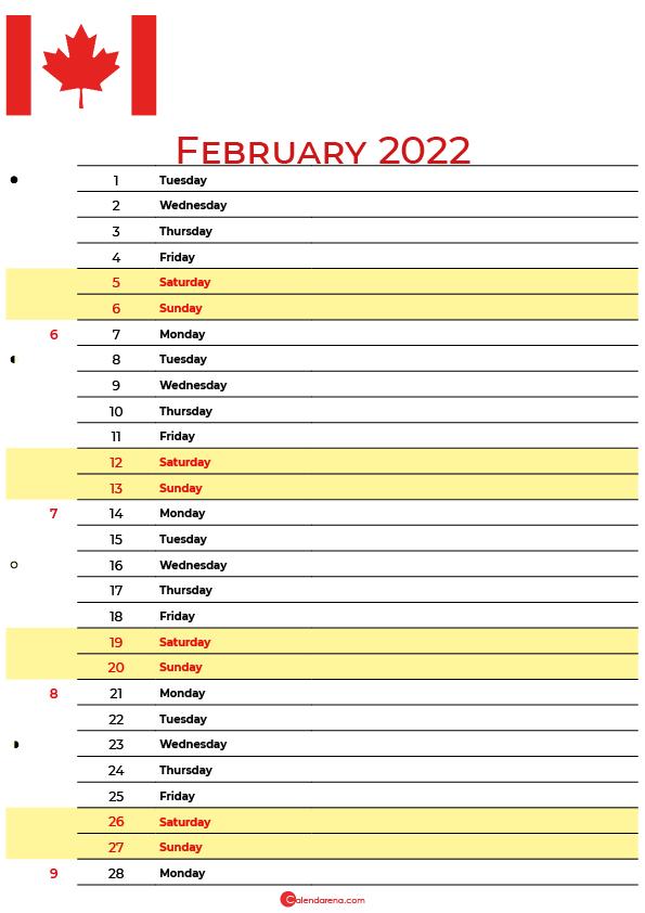 calendar february 2022 canada
