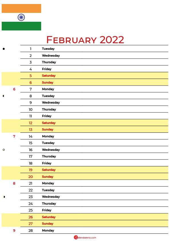 calendar february 2022 india